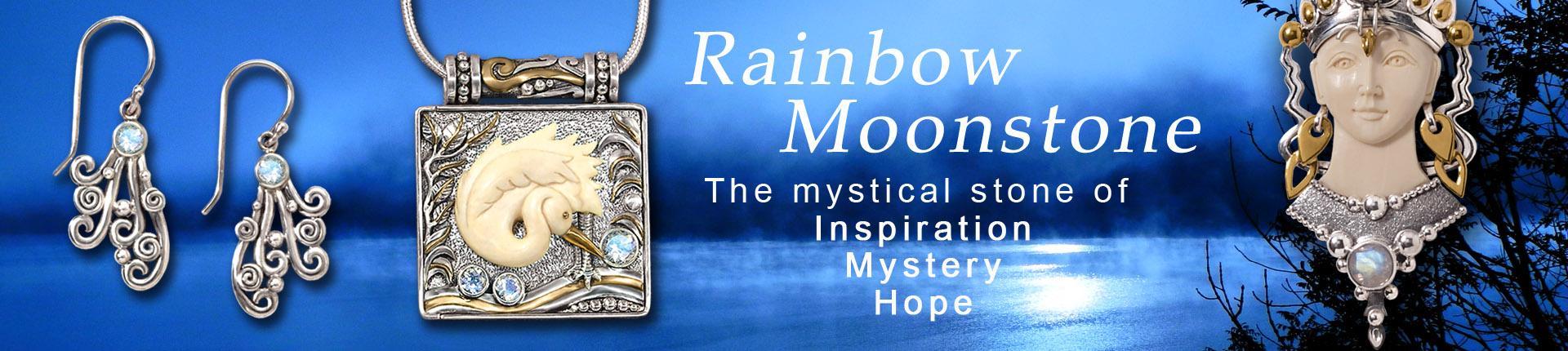 rainbow moonstone necklace, moonstone earrings