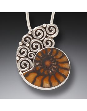 Silver and moroccan ammonite pendant meditation aloadofball Images