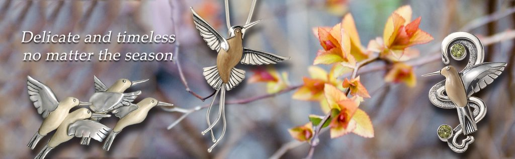 silver hummingbird jewelry, Zealandia Designs