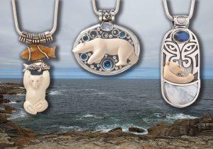 Fossilized Ivory Bear Jewelry