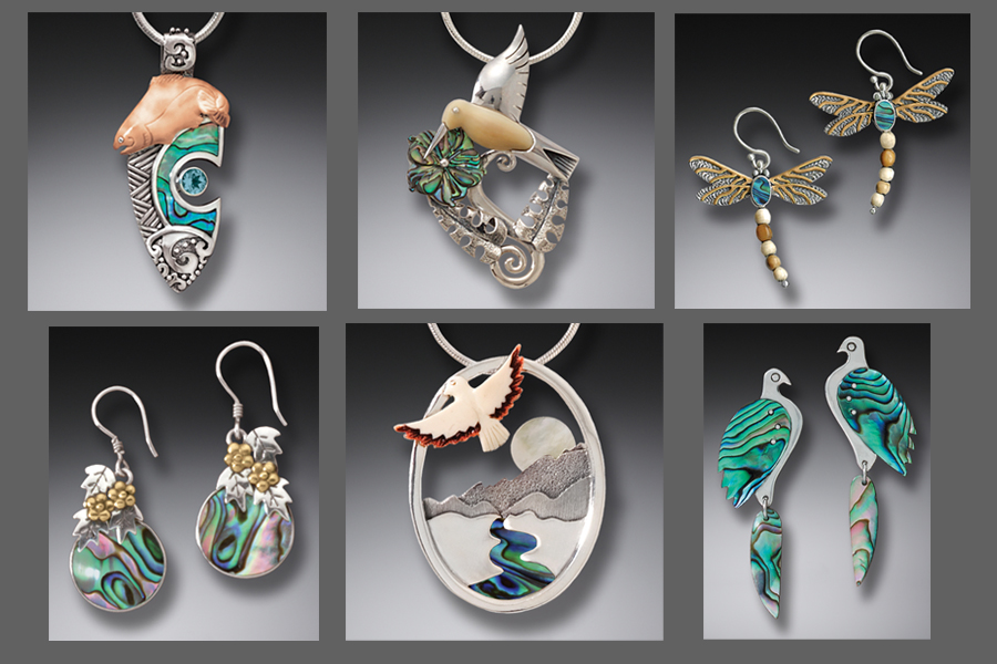 Radiant examples of paua shell featured in Zealandia Designs jewelry.