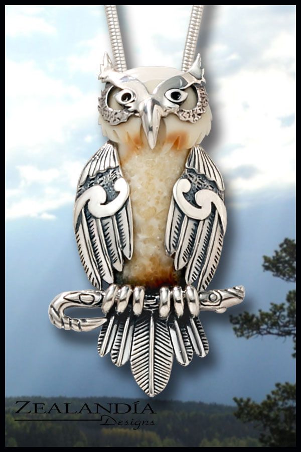 Hand carved fossilized walrus ivory owl jewelry