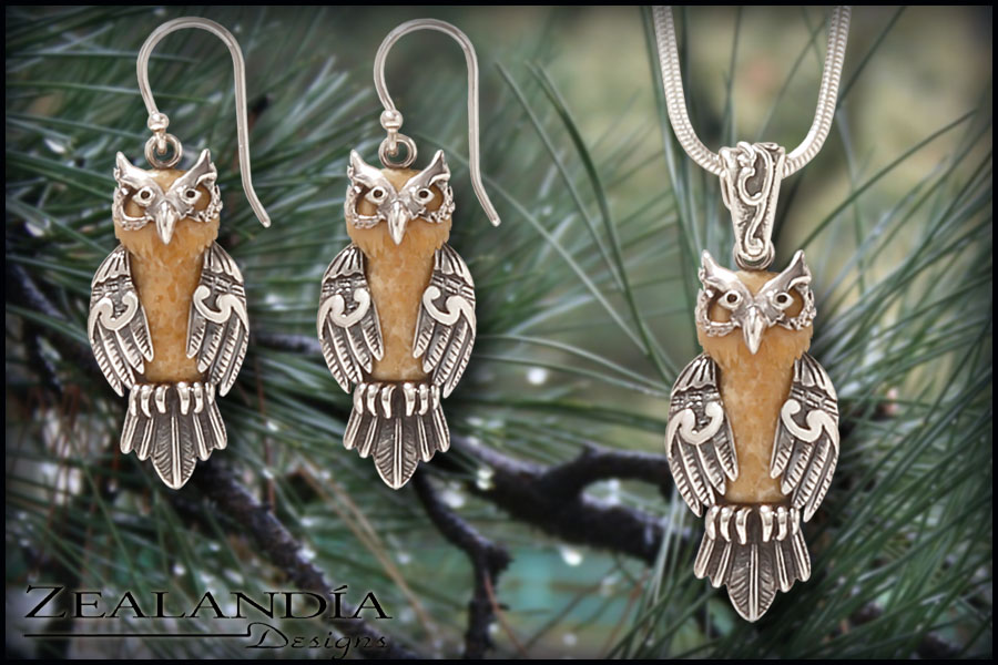 Owl Jewelry - Hand carved walrus ivory earrings and matching pendant