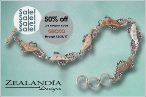 Coupon code GECKO for 50% off this Zealandia Designs bracelet