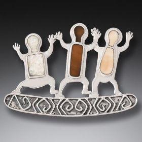 Fossilized Walrus Ivory Pin Silver Rock Art Jewelry - Three Dancers