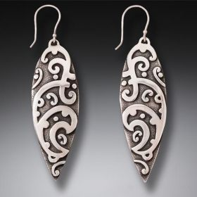 Handmade Silver Surf Earrings - Maori Surf Design