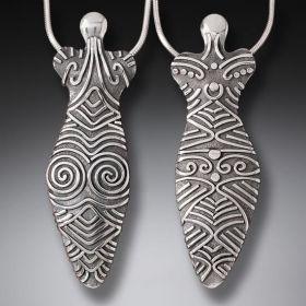 Handmade Silver Goddess Pendant - Large Cucuteni Goddess