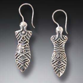 Handmade Silver Goddess Earrings - Cucuteni Goddess