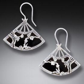 Handmade Silver Fan Earrings Geisha Jewelry - Black Fan
