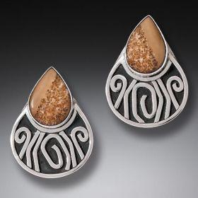 Handmade Silver Fossilized Walrus Ivory Earrings - Terra