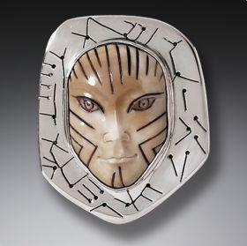 Fossilized Walrus Ivory Pin Silver Mask Pendant, Handmade - Vinca Mask 4200 BC