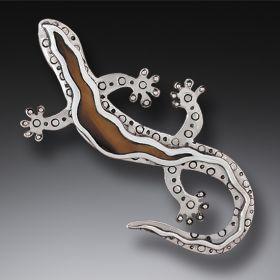 """Gecko"" Silver & Fossilized Walrus Tusk Pin"