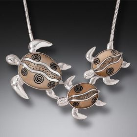 Fossilized Walrus Ivory Turtle Family Necklace, Handmade Silver (includes chain) - Mother and Baby Turtles