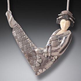 Mammoth Ivory Geisha Necklace, Handmade Silver (includes chain) - Flower Geisha