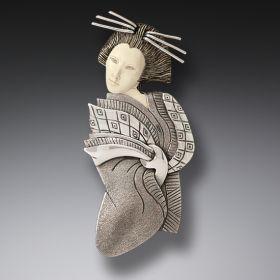 Mammoth Ivory Jewelry Geisha Pin or Geisha Pendant, Handmade Silver - Geisha