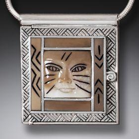 Fossilized Walrus Ivory Cat Locket, Handmade Silver - Cat Woman Locket