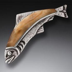 Fossilized Walrus Ivory Handmade Silver Fish Pin or Pendant - Ancestor Fish