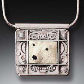 Mammoth Ivory Polar Bear Locket in Handmade Silver - Polar Bear Spirit
