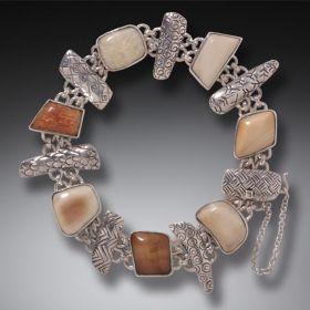 Fossilized Walrus Ivory Bracelet in Handmade Silver - Legends