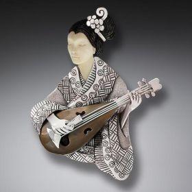 Mammoth Ivory Geisha Pin or Geisha Necklace Pendant, Handmade Silver - Shamisen Player