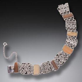 Fossilized Walrus Ivory Bracelet in Handmade Silver -Spiral Design