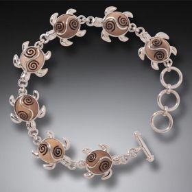 Fossilized Walrus Tusk Sea Turtle Bracelet Silver, Handmade - Turtle Circle