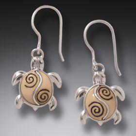 Fossilized Walrus Ivory Turtle Earrings Silver, Handmade - Baby Turtles