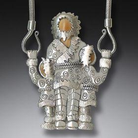 Fossilized Walrus Ivory Silver Eskimo Necklace (includes chain) - Eskimo Family