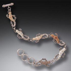 Fossilized Walrus Ivory Tusk Silver Gecko Bracelet, Handmade - Geckos