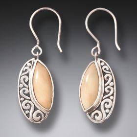 Handmade Silver Mammoth Ivory Earrings - New Life