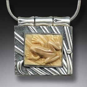 Fossilized Walrus Ivory Locket, Handmade - Frog Locket