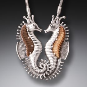 Fossilized Walrus Tusk Silver Seahorse Necklace, Handmade (includes chain) - Seahorses