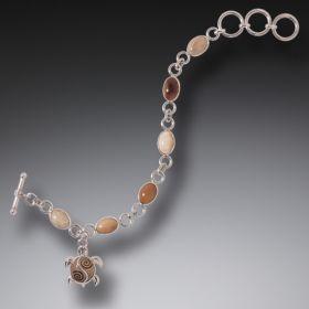 Ancient Ivory Sea Turtle Charm Bracelet, Handmade Silver - Sea Turtle