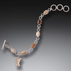 Fossilized Walrus and Mammoth Ivory Bear Charm Bracelet, Handmade Silver - Hanging Bear