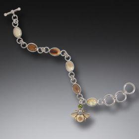 Fossilized Walrus Ivory Bee Charm Bracelet, Handmade Silver - Bee Charm