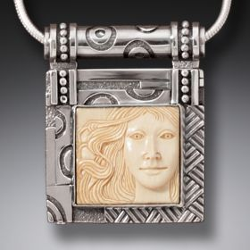 Handmade Silver Mammoth Ivory Locket - Aphrodite II