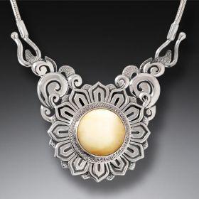 Mammoth Ivory Lotus Necklace Silver, Handmade (includes chain) - Lotus Mandala