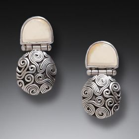 Handmade Silver Fossilized Walrus Carved Ivory Earrings - String Theory