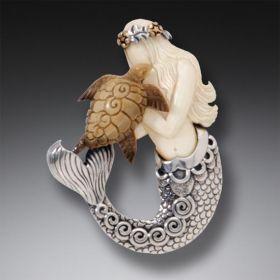 Mammoth Ivory Mermaid Pin, Handmade Silver - Mermaid Turtle
