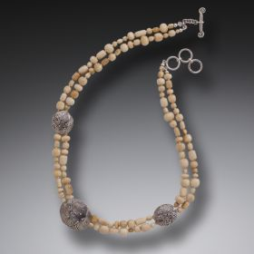 Fossilized Walrus Ivory Bead Necklace, Handmade Silver - String Theory III