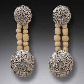 Fossilized Walrus Ivory Bead Earrings, Handmade Silver - String Theory II