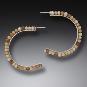 Fossilized Walrus Ivory Hoop Earrings, Handmade Silver, Large - Ancient Circles