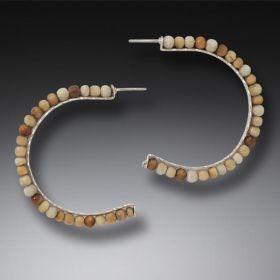 Mammoth Ivory Hoop Earrings, Handmade Silver, Large - Ancient Circles