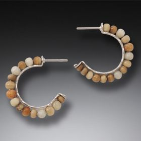 Fossilized Walrus Ivory Hoop Earrings, Handmade Silver, Small - Ancient Circles