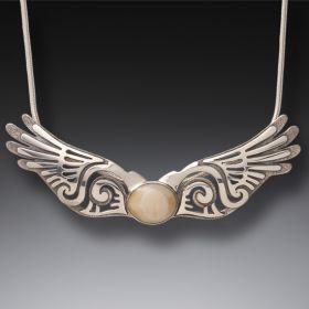 Fossilized Walrus Ivory Silver Wings Pendant, Handmade - Wings