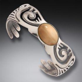 Fossilized Walrus Ivory Wings Bracelet, Handmade Silver - Wings