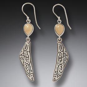 Fossilized Walrus Ivory Dragonfly Wing Earrings, Handmade Silver - Tribal Wings
