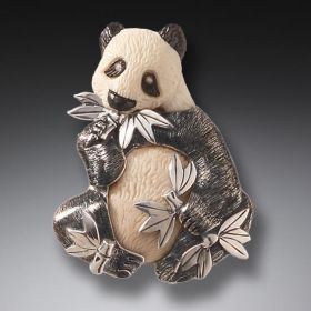 Mammoth Ivory Jewelry Silver Panda Pendant or Pin, Handmade - Panda