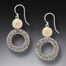 Handmade Silver Mammoth Ivory Earrings - Arctic Sun