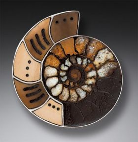 Handmade Silver Moroccan Ammonite Fossil Pin, Mammoth Ivory Jewelry - From an Ancient Sea